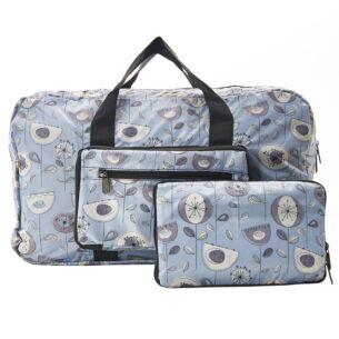 Grey 1950's Flowers Recycled Foldaway Holdall Bag
