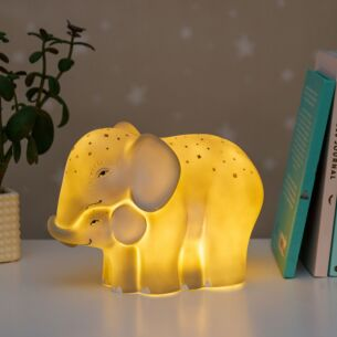 Large Mother & Baby Elephant Lamp