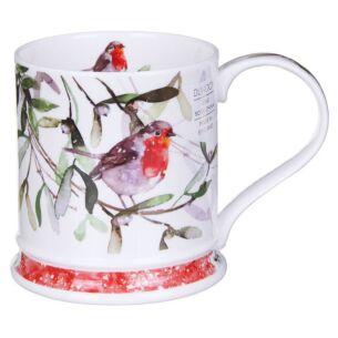 Dunoon Christmas Robins Mistletoe Iona Shape Mug
