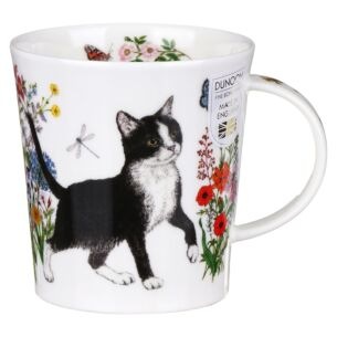 Floral Cats Black & White Lomond Shape Mug