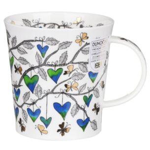 Dunoon Tree of Hearts Blue Lomond Shape Mug