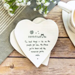 'The Best Things in Life' Heart Shaped Coaster