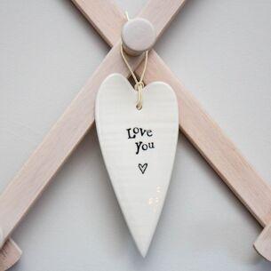 Love You Porcelain Heart