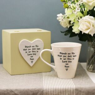 Friends are like stars...Porcelain Mug in Wooden Box