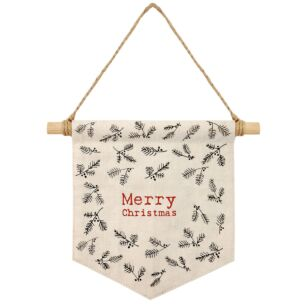 East of India 'Merry Christmas' Berry Fabric Pennant Hanging Decoration