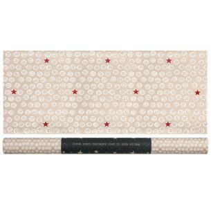 White Dots & Red Stars Roll Of Kraft Paper