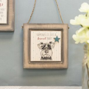 Schnauzer Dog Just a Biscuit Away Wooden Plaque