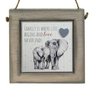 East of India Elephants Love Never Ends Wooden Plaque