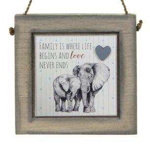 Elephants Love Never Ends Wooden Plaque