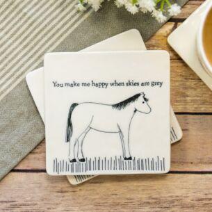 'You Make Me Happy' Square Coaster