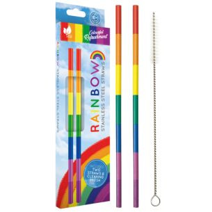 Echo Three Rainbow Stainless Steel Set of 2 Straws