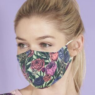 Green Peonies Recycled Face Cover