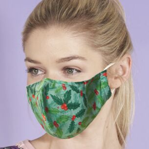 Eco Chic Christmas Green Holly and Berry Recycled Face Cover