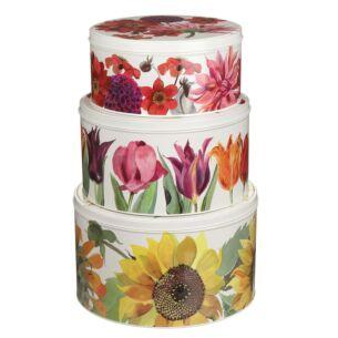Flowers Set of Three Round Cake Tins