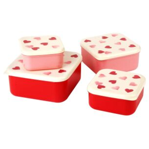 Pink Hearts Set of 4 Snack Tubs