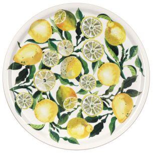 Lemons Birch Round Tray