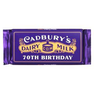 '70th Birthday' 110g Dairy Milk Vintage Chocolate Bar
