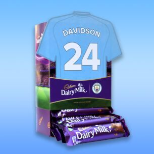 Personalised Favourites Manchester City Shirt Chocolate Bar Hamper