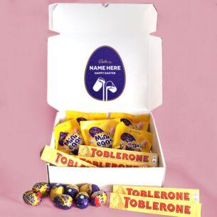 Personalised Toblerone Mini Egg & Cream Egg Easter Hamper