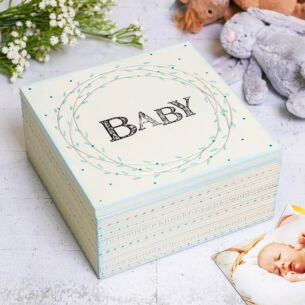 'Baby' Large Blue Striped Box