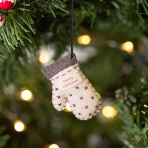 Christmas Felt Hanging Mitten