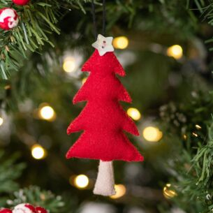 Christmas Medium Felt Red Hanging Tree