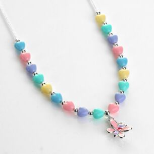 Girls Silver Plated Pastel Hearts Butterfly Necklace