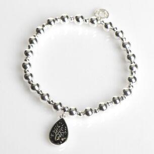 Silver Plated Midnight Sparkle Teardrop Tree Bracelet