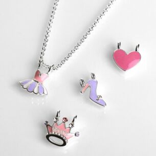 Girls Silver Plated Make Your Own Princess Necklace Set