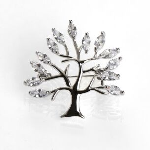 Clear Tree of Life Silver Brooch