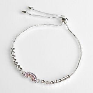 Silver Plated Colourful Pastel Rainbow Friendship Bracelet