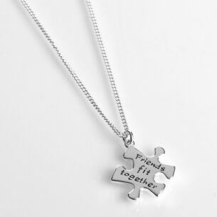 Silver Plated Jigsaw Friends Necklace