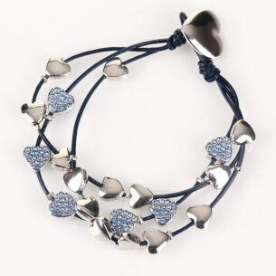 Blue Multi Hearts Leather Bracelet