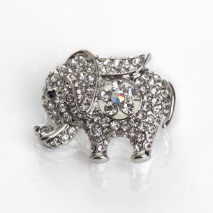 Silver Sparkle Elephant Brooch