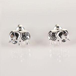 Silver Swirly Elephant Earrings
