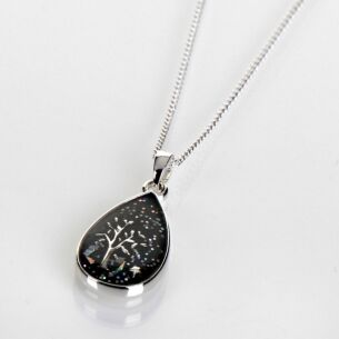 Silver Plated Midnight Sparkle Teardrop Tree Necklace