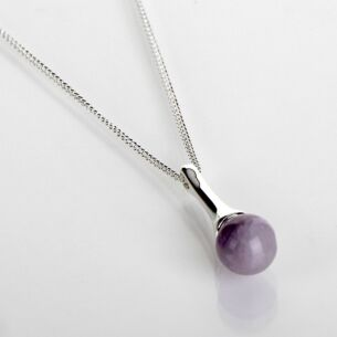 Silver Plated Elegant Amethyst Drop Necklace