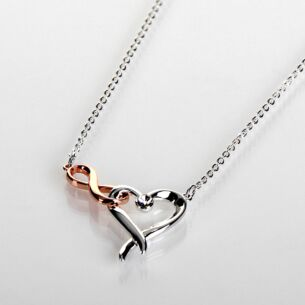Two Tone Kiss Collection Hearts & Kisses Necklace