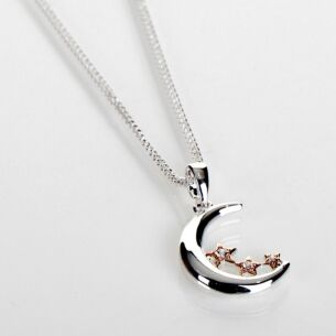 Two Tone Polished Pretty Moon & Stars Necklace
