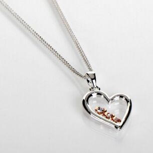 Two Tone Polished Pretty Heart Necklace
