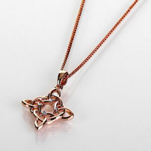 Celtic Diamond Rose Gold Plated Necklace