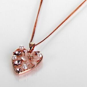 Boho Chic Rose Gold Plated Floral Heart Necklace