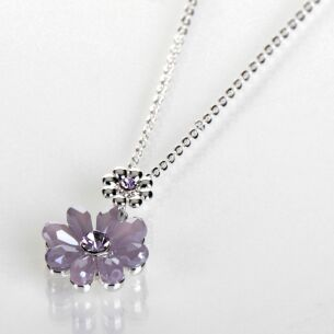Silver Plated Purple Boho Chic Flower Necklace