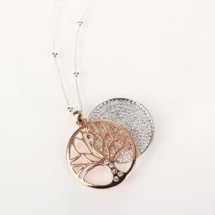 Equilibrium Rose Gold Filigree Disk Long Necklace