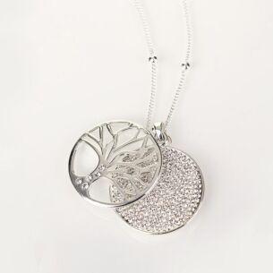 Equilibrium Silver Filigree Disk Long Necklace