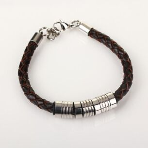 Men's 7 Ring Stainless Steel Brown Leather Bracelet