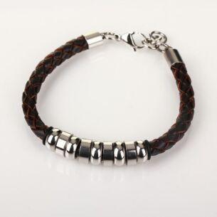 Men's 9 Ring Stainless Steel Brown Leather Bracelet