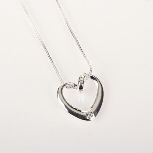 Clear Diamante Heart Necklace