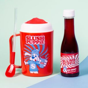 Slush Puppie Making Cup and Red Cherry Syrup
