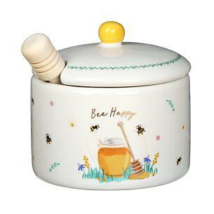 Beekeeper 'Bee Happy' Honey Pot & Wooden Dizzler